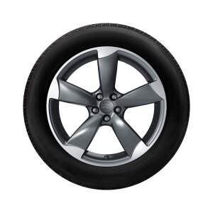 Complete summer wheel in 5-arm rotor design, titanium, matt, 8.5 J x 19, 255/35 R 19 96Y XL