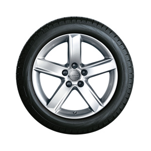 Complete winter wheel in 5-arm design, brilliant silver, 7.5 J x 17, 225/55 R17 97H, left