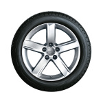 Complete winter wheel in 5-arm design, brilliant silver, 7 J x 17, 225/50 R17 94H, left