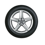 Complete winter wheel in 5-spoke star design, brilliant silver, 8 J x 18, 245/40 R18 97V XL, left