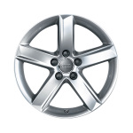 Cast aluminium winter wheel in 5-spoke design, brilliant silver, 6 J x 16