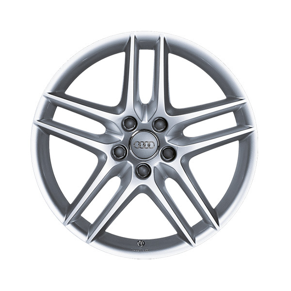 Cast aluminium wheel in 5-twin-spoke design, silver, metallic, 7.5 J x 17