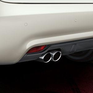 Sport tailpipe trims, for vehicles with a twin tailpipe on the left, in an aluminium look, matt