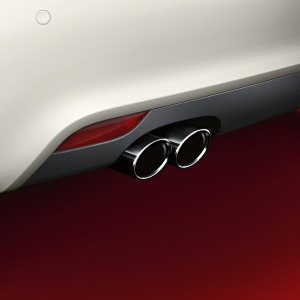 Sport tailpipe trims, for vehicles with a twin tailpipe on the left, chrome-finished, black