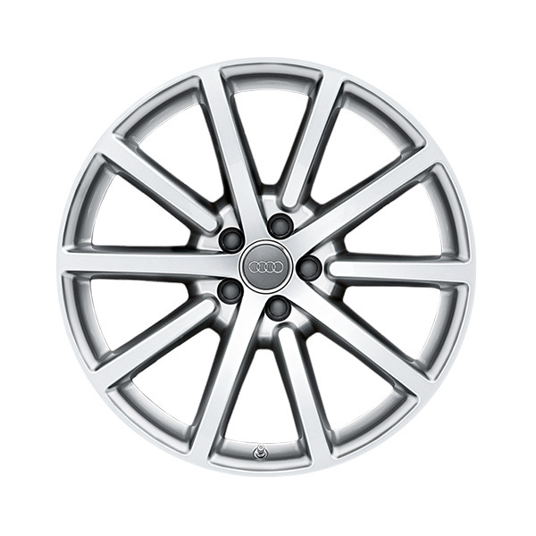 Cast aluminium wheel in 10-spoke design, brilliant silver, 8.5 J x 20