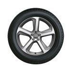 Complete winter wheel in 5-arm design, brilliant silver, 8.5 J x 20, 255/45 R20 101V, left