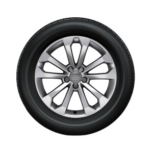Complete winter wheel in 5-V-spoke design, brilliant silver, 8 J x 18, 235/60 R18 107H XL, left