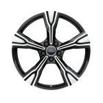 Cast aluminium wheel in 5-arm rima design, matt black, high-gloss turned finish, 9 J x 20