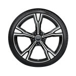 Complete summer wheel in 5-arm rima design, matt black, high-gloss turned finish, 9 J x 20, 255/30 R 20 92Y