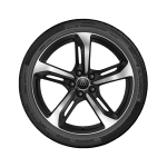 Complete summer wheel in 5-spoke blade design, black, high-gloss turned finish, 9 J x 19, 245/35 R 19 93Y XL