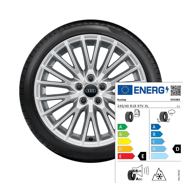 Complete winter wheel in 20-spoke V design, brilliant silver, 8.5 J x 18, 245/40 R18 97V XL, right