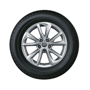 Complete winter wheel in 5-arm falx design, brilliant silver, 7 J x 17, 225/50 R17 98H XL, left