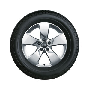 Complete winter wheel in 5-arm design, brilliant silver, 7 J x 17, 225/50 R17 98H XL, left