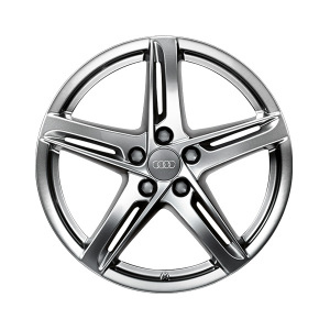 Cast aluminium wheel in 5-arm rotor design, dark-gloss finish, 8.5 J x 18