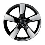 Cast aluminium wheel in 5-arm hollow-spoke design, black, high-gloss turned finish, 9 J x 19
