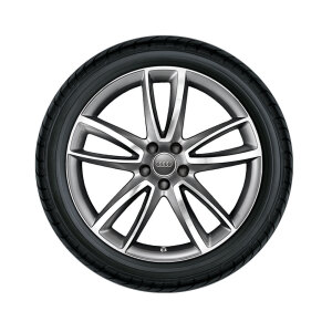 Complete summer wheel in 5-arm parabola design, anthracite, high-gloss turned finish, 9 J x 20, 265/30 R 20 94Y XL