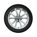 Complete winter wheel in 5-V-spoke design, brilliant silver, 8.5 J x 18, 245/40 R18 97V XL