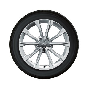 Complete winter wheel in 5-V-spoke design, brilliant silver, 8.5 J x 18, 245/40 R18 97V XL, right