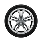 Complete winter wheel in 5-parallel-spoke S design, brilliant silver, 8 J x 18, 245/40 R18 97V XL, left