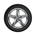 Complete winter wheel in 5-arm rotor design, dark-gloss finish, 8.5 J x 18, 245/40 R18 97V XL, left