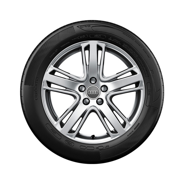 Complete winter wheel in 5-arm structured design, high-gloss, 8 J x 19, 235/40 R19 96V XL, left