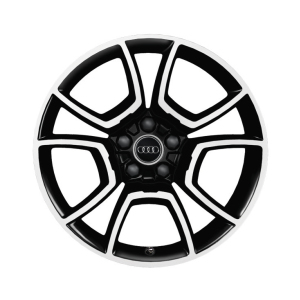 Cast aluminium wheel in 5-arm pila design, black, high-gloss turned finish, 8.5 J x 19