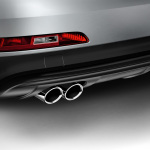 Sport tailpipe trims, for vehicles with a twin tailpipe on the left, chrome-finished, silver