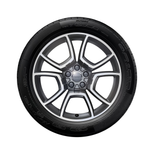 Complete summer wheel in 5-arm pila design, anthracite, high-gloss turned finish, 8.5 J x 19, 255/40 R 19 100Y XL