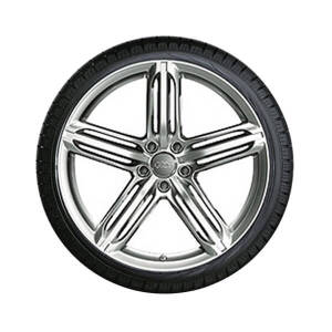Complete summer wheel in 5-segment-spoke design, high gloss, 8.5 J x 19, 255/40 R 19 100Y XL