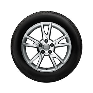 Complete winter wheel in 5-arm semi-Y design, brilliant silver, 6.5 J x 17, 215/60 R17 96H
