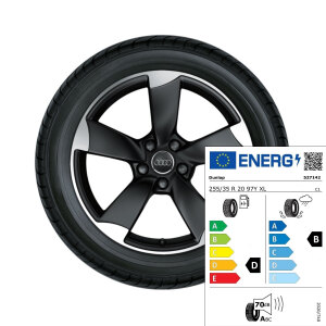 Complete summer wheel in 5-arm rotor design, matt black,high-gloss turned finish,  8.5 J x 20, 255/35 R 20 97Y XL, right