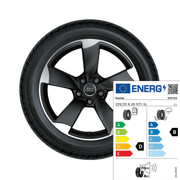 Complete summer wheel in 5-arm rotor design, matt black, high-gloss turned finish, 8.5 J x 20, 255/35 R 20 97Y XL, left