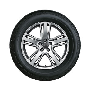 Complete winter wheel in 5-arm structured design, high-gloss, 8 J x 18, 225/50 R18 99H XL, left