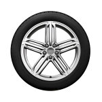 Complete winter wheel in 5-segment-spoke design, high-gloss, 8.5 J x 19, 255/40 R19 100V XL, left