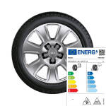 Winterkomplettrad im 7-Arm-Design, brillantsilber, 6,5 J x 16, 215/65 R 16 102T XL, mit Spikes, links