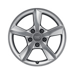 Cast aluminium winter wheel in 5-arm rotor design, brilliant silver, 6 J x 16