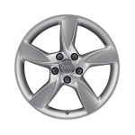 Cast aluminium wheel in 5-arm helica design, brilliant silver, 7.5 J x 17