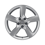 Cast aluminium winter wheel in 5-arm helica design, brilliant silver, 6 J x 17