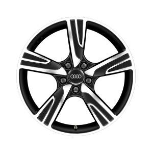 Rim, 5-arm velum, matt black, high-gloss turned finish, 7.5Jx18