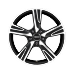 Cast aluminium wheel in 5-arm velum design, matt black, high-gloss turned finish, 7.5 J x 18