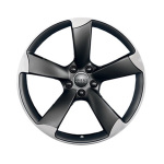 Cast aluminium wheel in 5-arm rotor design, matt black, high-gloss turned finish, 7.5 J x 18