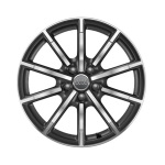 Cast aluminium wheel in 10-spoke design, matt titanium high-gloss turned finish, 7.5 J x 18