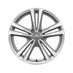 Cast aluminium wheel in 5-parallel-spoke design, brilliant silver, partly polished, 7.5 J x 18