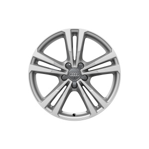 Cast aluminium wheel in 5-parallel-spoke design, brilliant silver, 7.5 J x 18
