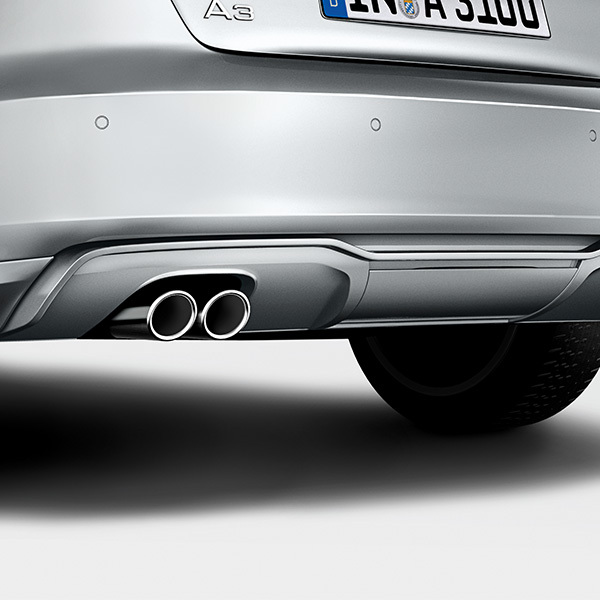 Rear diffuser with blade, for vehicles with a twin tailpipe on the left, primed
