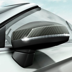 Exterior mirror housings, in carbon, for vehicles without Audi side assist