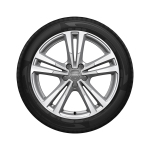 Complete summer wheel in 10-parallel-spoke design, brilliant silver, partly polished, 7.5 J x 18, 225/40 R 18 92Y XL