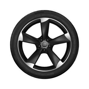 Complete summer wheel in 5-arm rotor design, matt black, high-gloss turned finish, 7.5 J x 18, 225/40 R 18 92Y XL