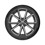 Complete summer wheel in 5-V-spoke design, titanium high-gloss turned finish, 8 J x 19, 235/35 R 19 91Y XL