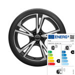 Complete summer wheel in 5-arm falx design, matt black, high-gloss turned finish, 8 J x 19, 235/35 R 19 91Y XL
